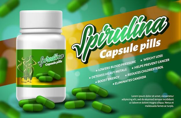 Pillole realistiche della capsula di spirulina di superfood Vettore Premium
