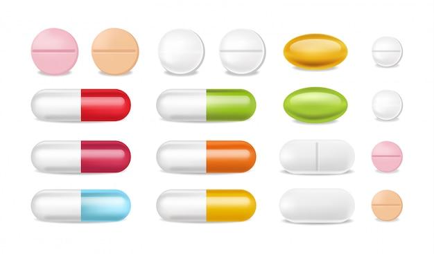 Pillole realistiche. Vettore gratuito