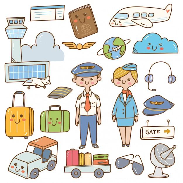 Pilota e hostess con attrezzature kawaii doodle Vettore Premium