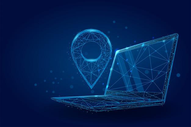 Pin gps poli basso sullo schermo del pc portatile. mappe wireframe astratte e servizi di navigazione Vettore Premium