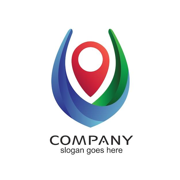Pin location navigation logo design Vettore Premium
