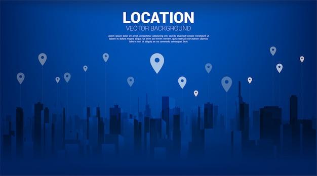 Pin marker gps con lo sfondo della città. concetto di posizione e luogo della struttura, tecnologia gps Vettore Premium