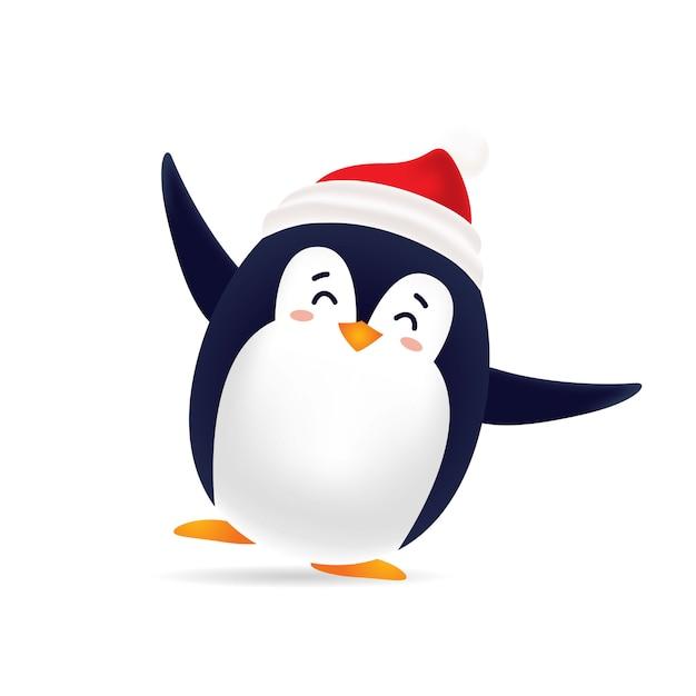 Pinguin carino ballare con tappo rosso Vettore Premium