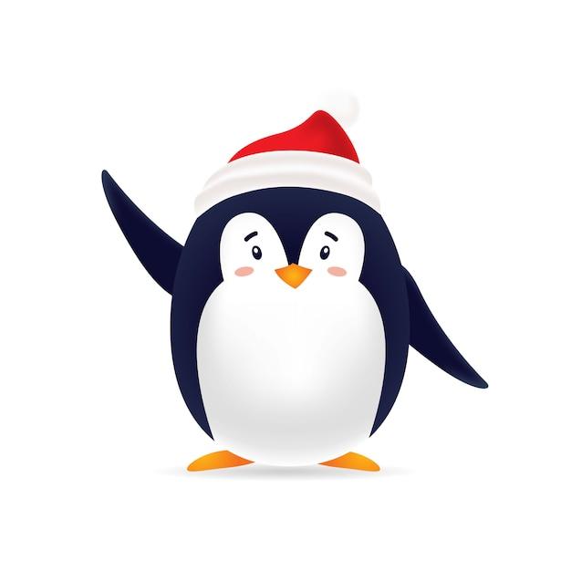 Pinguin carino con cappuccio rosso Vettore Premium