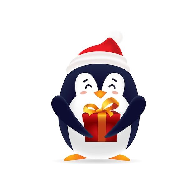 Pinguin sveglio con lo spiritello malevolo che trasporta un contenitore di regalo per natale con isolato Vettore Premium
