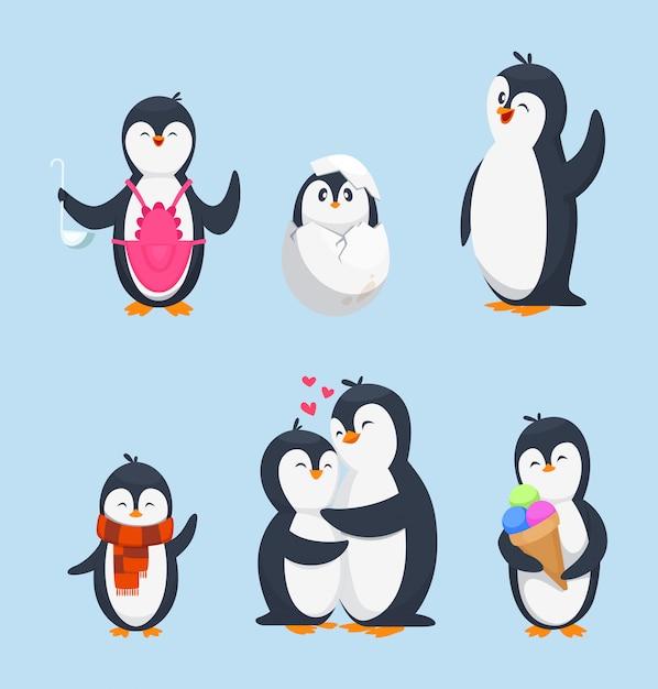 Pinguini divertenti in diverse pose di azione. isolato delle mascotte del fumetto Vettore Premium