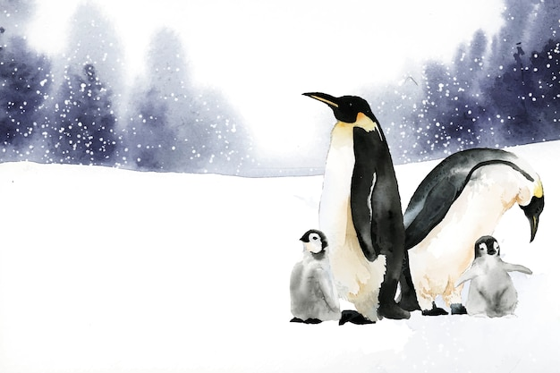 Pinguini in un vettore dell'acquerello del paese delle meraviglie di inverno Vettore gratuito