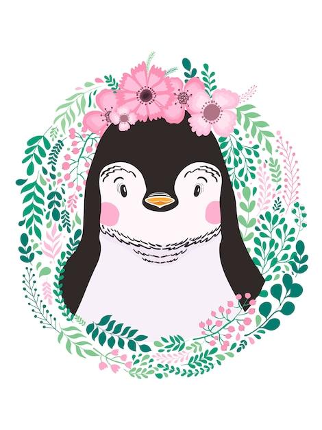 Pinguino animale disegnato a mano sveglio Vettore Premium