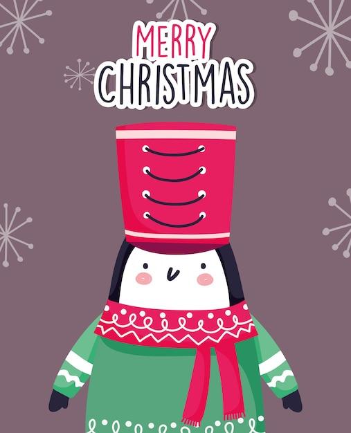 Pinguino carino celebrazione di buon natale con cappello e sciarpa Vettore Premium
