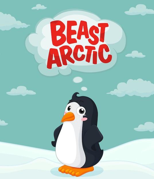 Pinguino carino in piedi sul ghiaccio Vettore gratuito