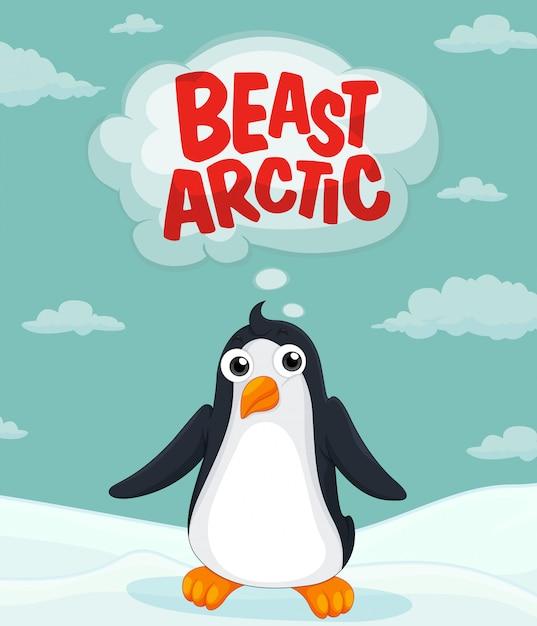 Pinguino che vive nell'artico Vettore gratuito