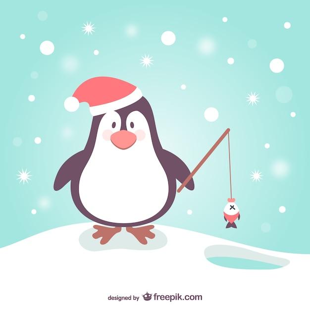 Pinguino di cartone animato per natale scaricare vettori