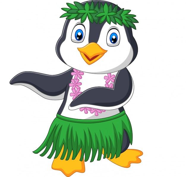 Pinguino di hula delle hawai su fondo bianco Vettore Premium