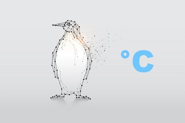 Pinguino di particelle, arte geometrica, linea e punto. Vettore Premium