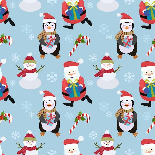 Pinguino e pupazzo di neve santa seamless pattern. Vettore Premium