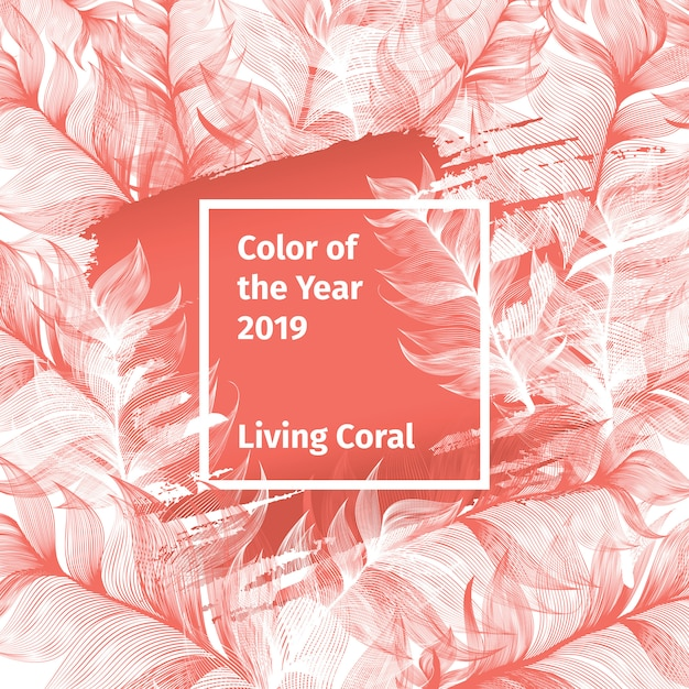 Pink living coral e white trendy colour palette 2019 year with feathers and square frame with color Vettore gratuito