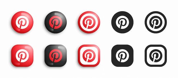 Pinterest set di icone moderne 3d e piatte Vettore Premium