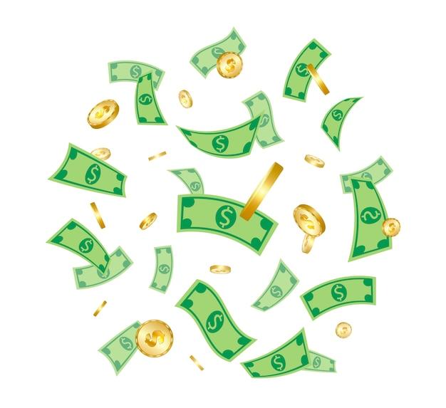 Pioggia di soldi Vettore Premium