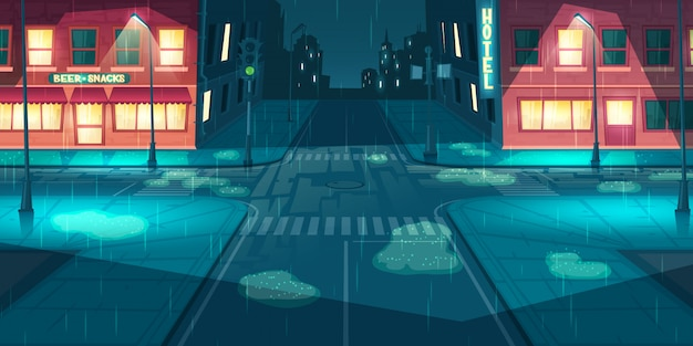 Pioggia sulla città, vettore del fumetto della via della città Vettore gratuito