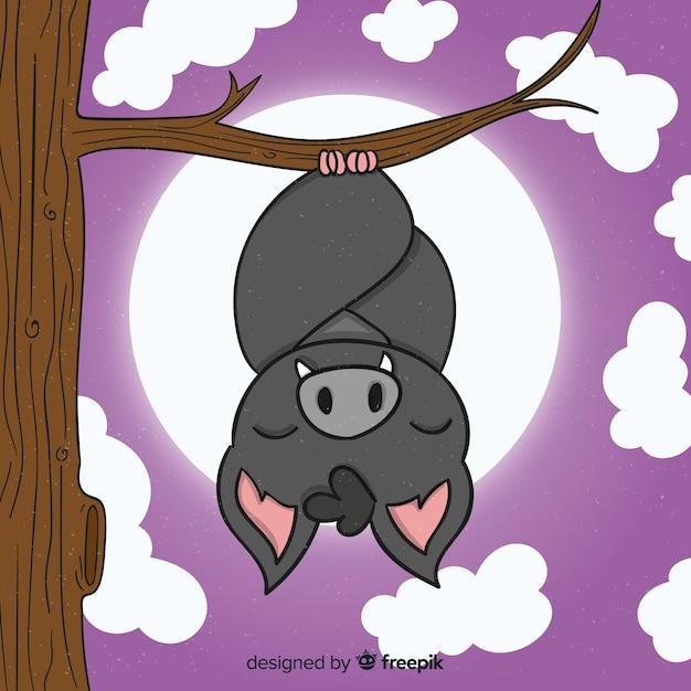 Pipistrello di sonno di halloween disegnato a mano Vettore gratuito