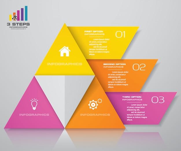 Piramide a 3 gradini con spazio libero per il testo su ogni livello. Vettore Premium