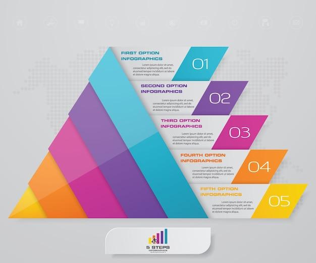 Piramide a 5 gradini con spazio libero per il testo su ogni livello. Vettore Premium