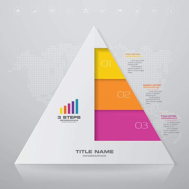 Piramide con spazio libero per il testo su ciascun livello. Vettore Premium