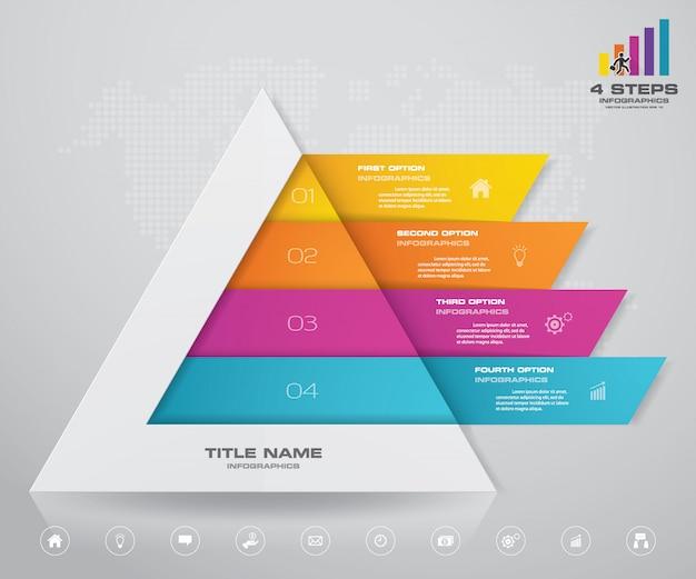 Piramide con spazio libero per il testo su ogni livello. Vettore Premium