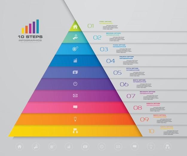 Piramide di infografica con dieci livelli Vettore Premium