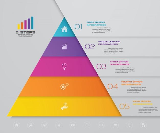 Piramide infografica con cinque livelli Vettore Premium