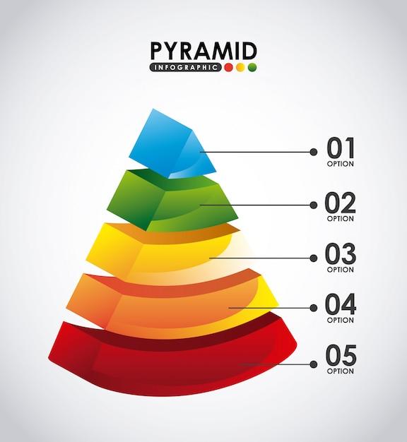 Piramide infografica Vettore Premium