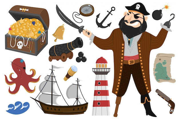 Pirata ambientato in stile cartone animato Vettore Premium