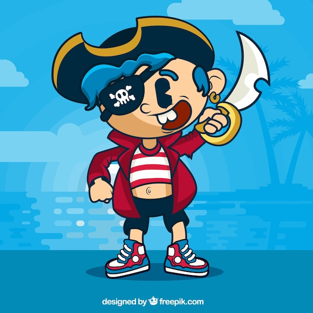 Pirata carattere sfondo cartone animato scaricare
