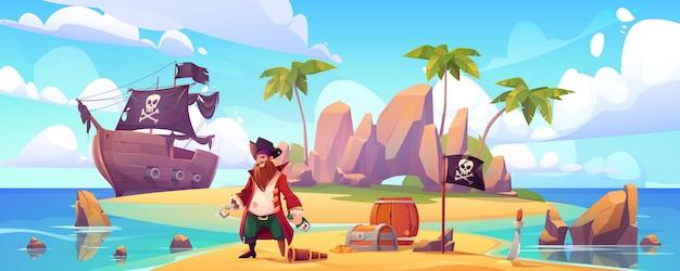 Pirata sull'isola con tesoro, capitano filibuster Vettore gratuito