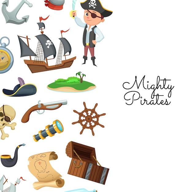 Pirati del mare dei cartoni animati. tesoro pirata per bambini Vettore Premium