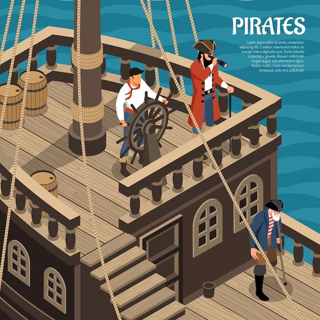 Pirati durante il viaggio in barca a vela in legno sul mare isometrica Vettore gratuito
