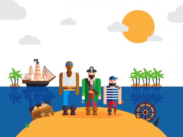 Pirati sull'isola deserta divertenti personaggi dei cartoni animati capitano pirata e marinai Vettore Premium