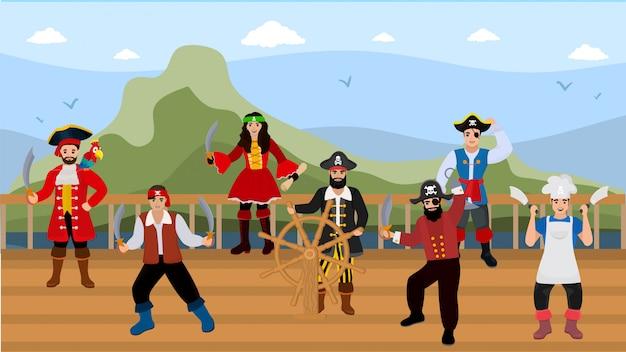 Pirati sulla piattaforma della nave sull'illustrazione di viaggio per mare. Vettore Premium