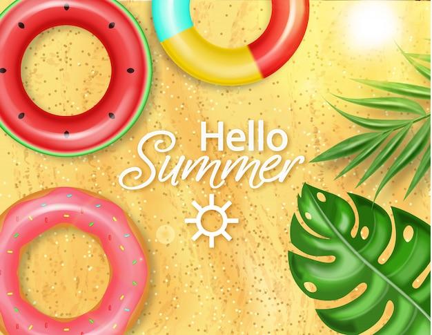 Piscina estiva e salvagente Vettore Premium