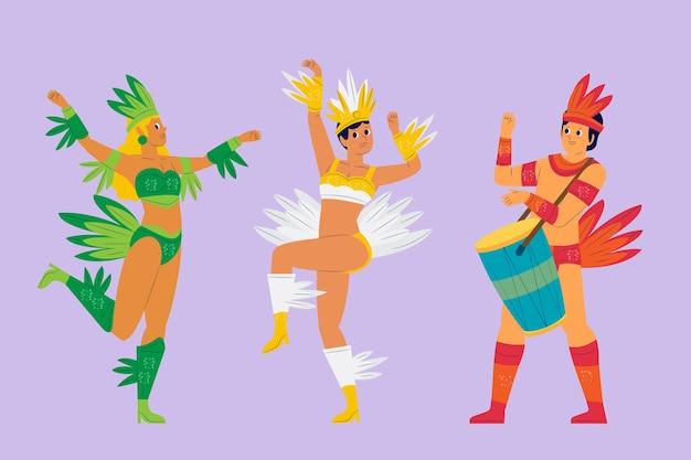Pista da ballo e musica collezione di carnevale brasiliano Vettore gratuito