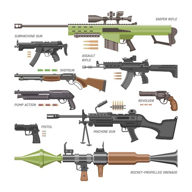 Pistola arma militare o esercito pistola e guerra arma automatica o fucile con illustrazione proiettile set di fucile o revolver su sfondo bianco Vettore Premium