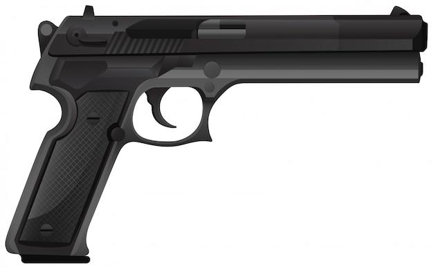 Pistola nera su bianco Vettore gratuito
