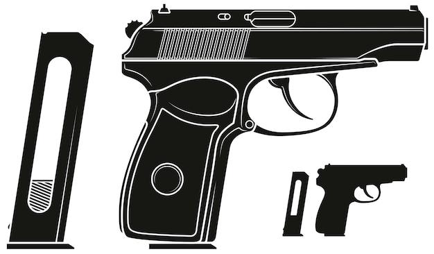 Pistola pistola grafica silhouette con clip munizioni Vettore Premium