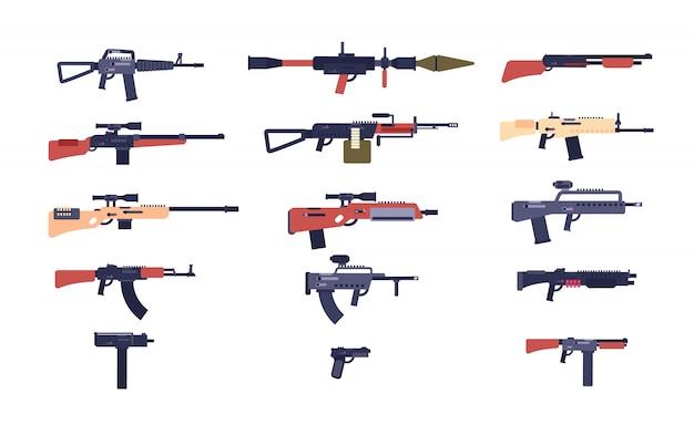 Pistole automatiche. armi da gioco di battaglia. pistola, fucile e lanciatore, fucili. collezione di armi del fumetto vettoriale Vettore Premium