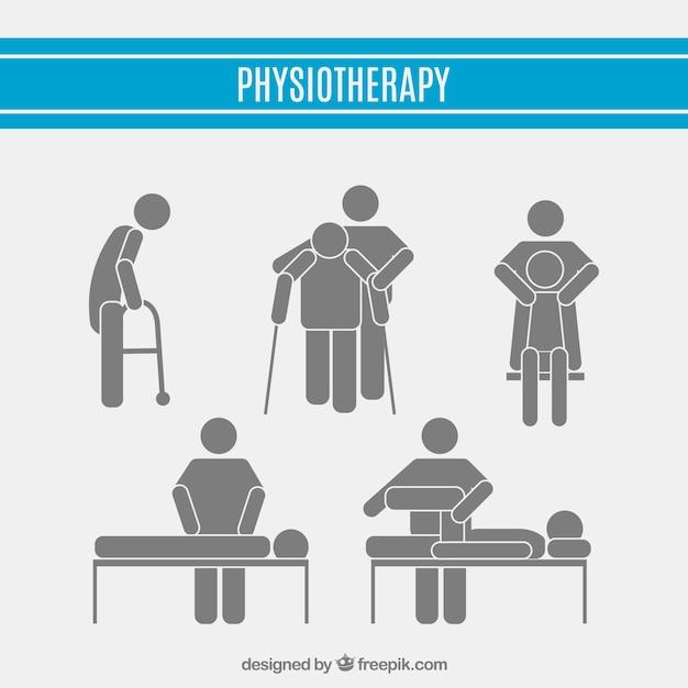 Pittogrammi fisioterapia impostati Vettore gratuito