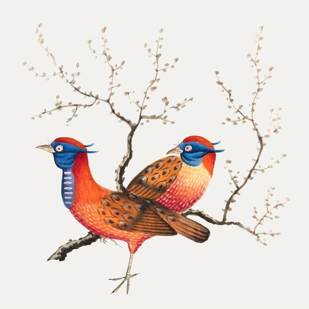 Pittura cinese con due uccelli simili a fagiani Vettore gratuito