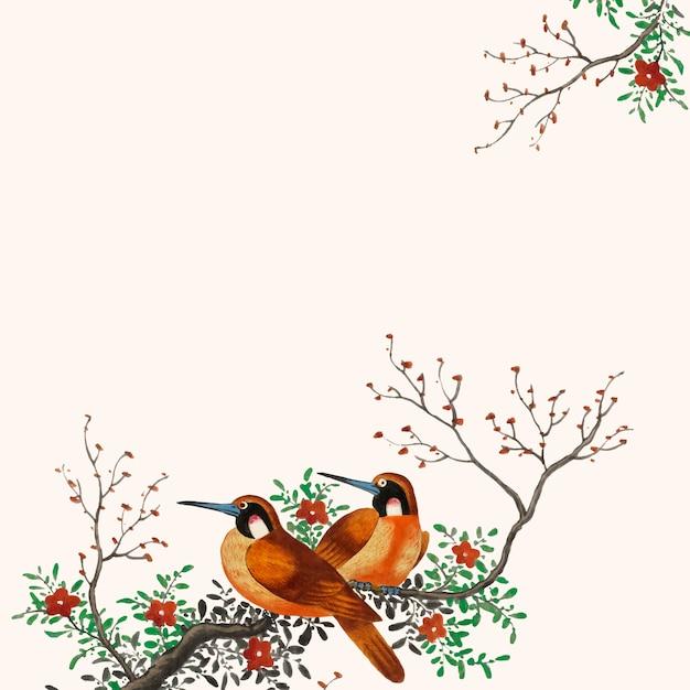 Pittura cinese con due uccelli Vettore gratuito