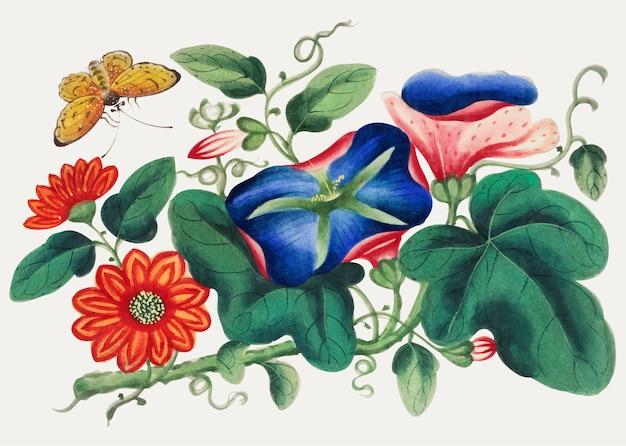 Pittura cinese con fiori e farfalle. Vettore gratuito