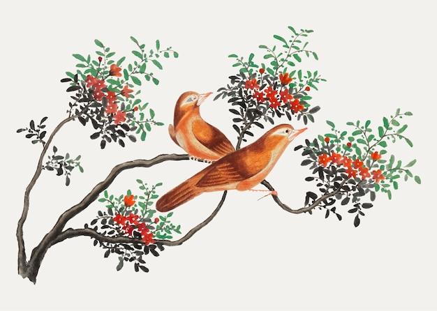 Pittura cinese con uccelli della cina. Vettore gratuito