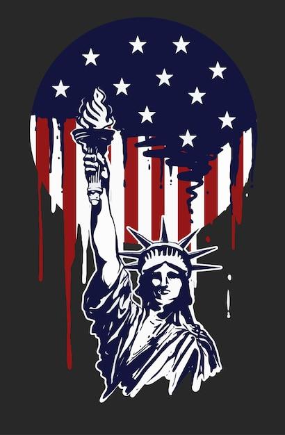 Pittura della libertà per l'america independence day Vettore Premium